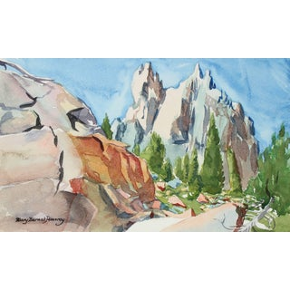 Mary Pomeroy California Mountain Landscape in Watercolor, Late 20th Century For Sale