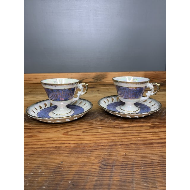 Vintage Blue and Pearlescent Tea Set For Sale - Image 10 of 11