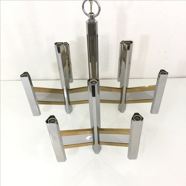 Sciolari Brass and Chrome 12 Bulb Chandelier - Image 6 of 10