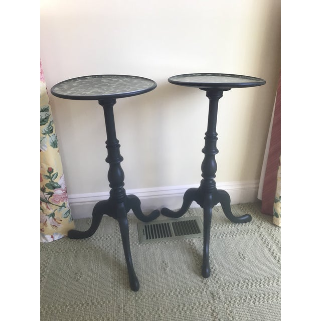 These are a pair of repurposed Circa 1910 mahogany round side tables. They can be sold as a pair or separately. Both have...