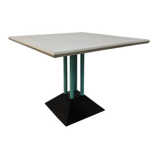 Post Modern Memphis Design Inspired Vintage Square Dining Table For Sale