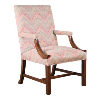 Kittinger Williamsburg Adaptation Mahogany Chippendale Style Library Armchair For Sale