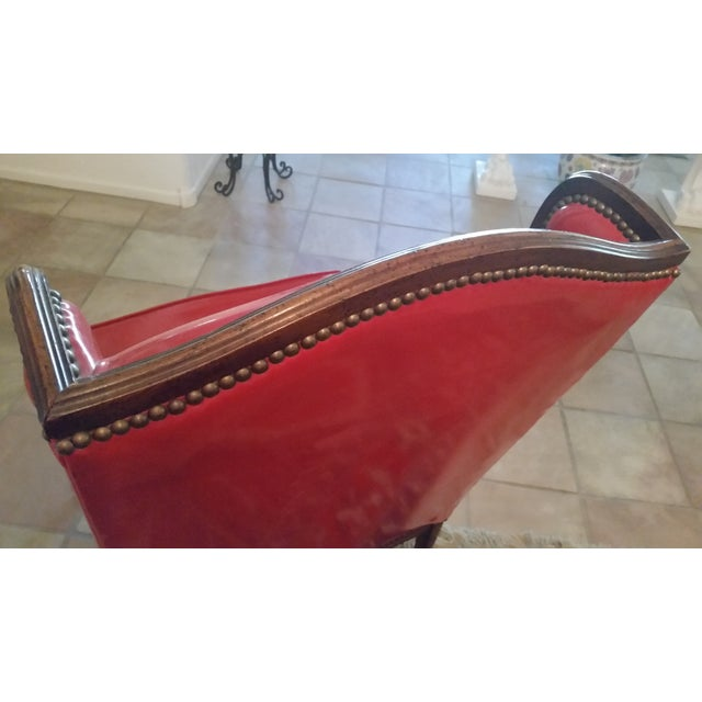 Antique Red Patent Leather Armchair - Image 9 of 11
