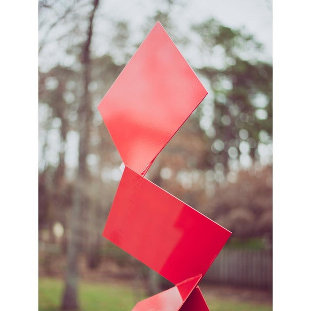 """Modern Abstract Balanced Gravity """"Sotto"""" Red Steel Sculpture For Sale In Philadelphia - Image 6 of 11"""