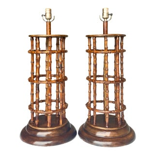 Coastal Monumental Bamboo Frame Lamps - a Pair For Sale