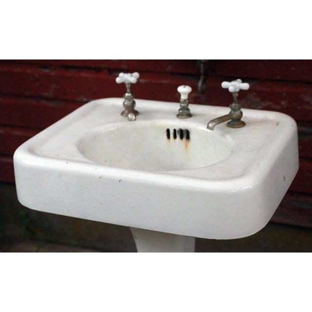 1920's Antique Cast Iron & Porcelain Pedestal Sink | Chairish
