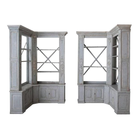 Pair of French Louis XV Style Corner Bookcases For Sale