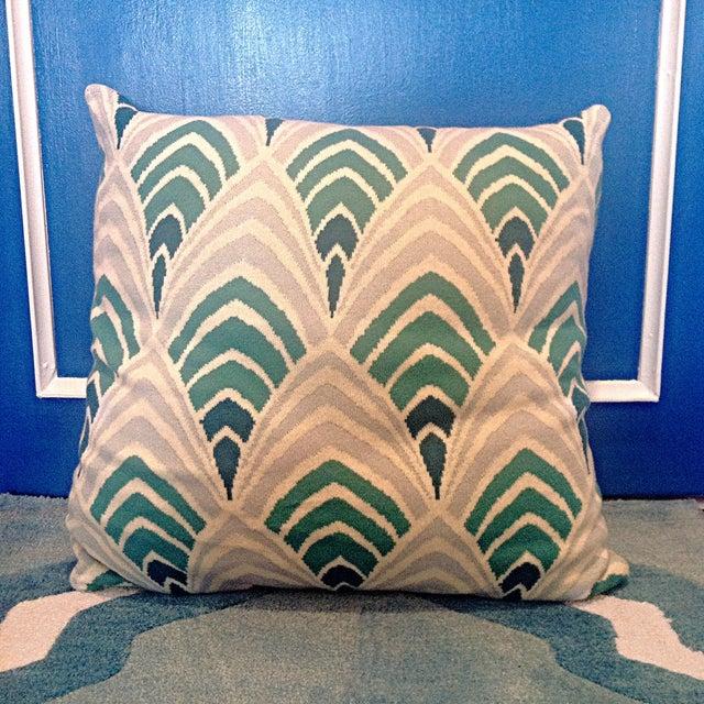 Knit Pillow With Aqua Art Deco Geometric Pattern - Image 3 of 3