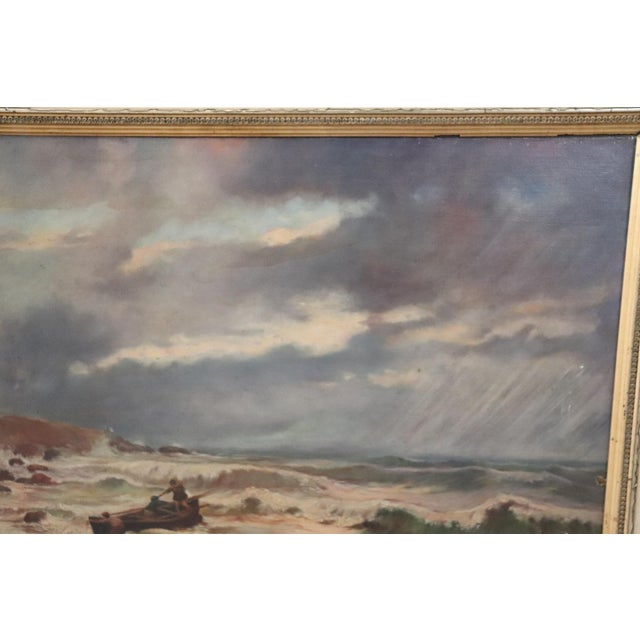 20th Century French Oil Painting on Canvas Signed Marine Subject With People For Sale - Image 4 of 10