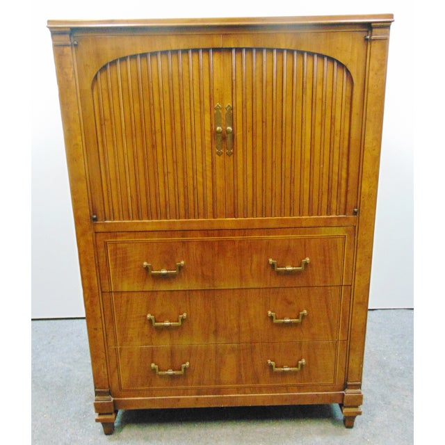 John Widdicomb Italian style chest, fruitwood with burl accents columns, line inlay on drawer fronts, 2 arched ribbed...
