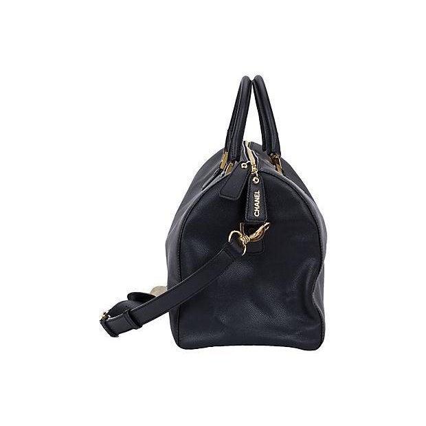 152a1481a50d Chanel Chanel Black   Gold Saffiano Duffel Bag For Sale - Image 4 ...