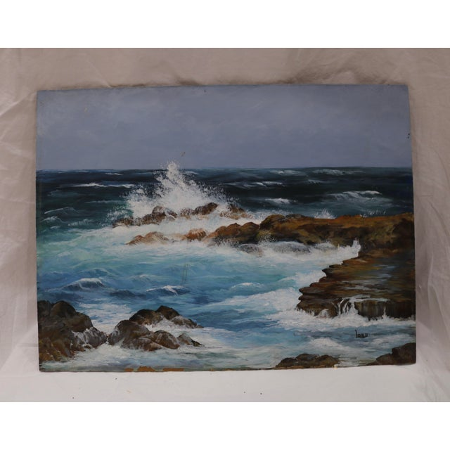 Mid 20th Century Vintage Seascape Acrylic Painting on Board For Sale - Image 5 of 5