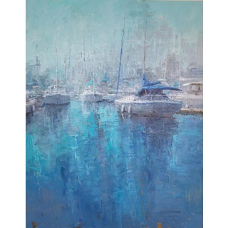 "Beckham Large Blue Contemporary Sailing Scene ""Marina"" Painting For Sale"