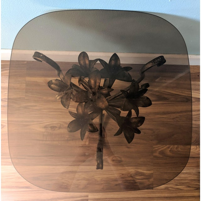 Mid 20th Century 20th Century Hollywood Regency Gilt Tole Lily Flower Side Table For Sale - Image 5 of 11