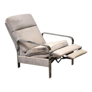 Milo Baughman Grey Chrome Lounge Chair Recliner For Sale