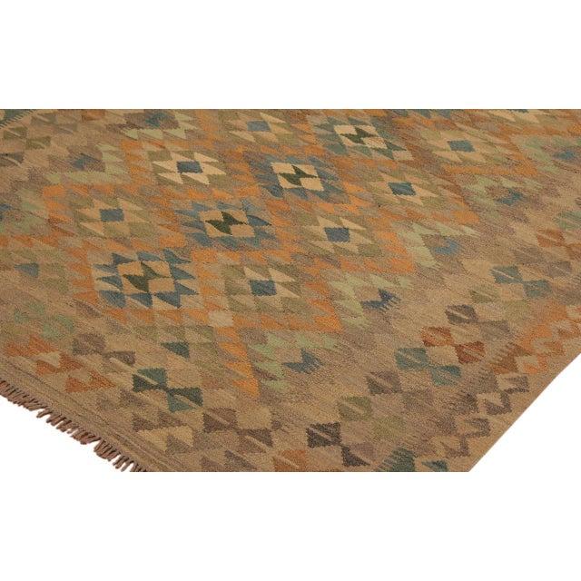 Asian Xara Gray/Blue Hand-Woven Kilim Wool Rug -5'0 X 6'9 For Sale - Image 3 of 8