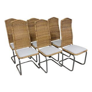Wicker & Chrome Tall Back Dining Chairs For Sale