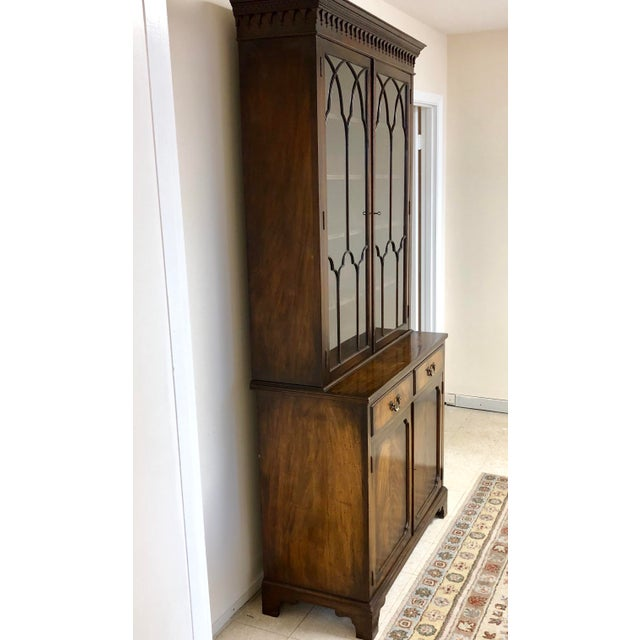 Georgian Stepback Chippendale Bookcase Cabinet For Sale - Image 9 of 12
