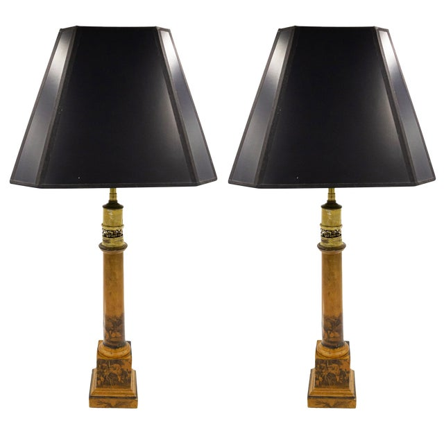 French Charles X Mustard Tole Table Lamps For Sale