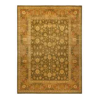 """Mogul, One-Of-A-Kind Hand-Knotted Area Rug - Green, 9' 3"""" X 12' 6"""" For Sale"""