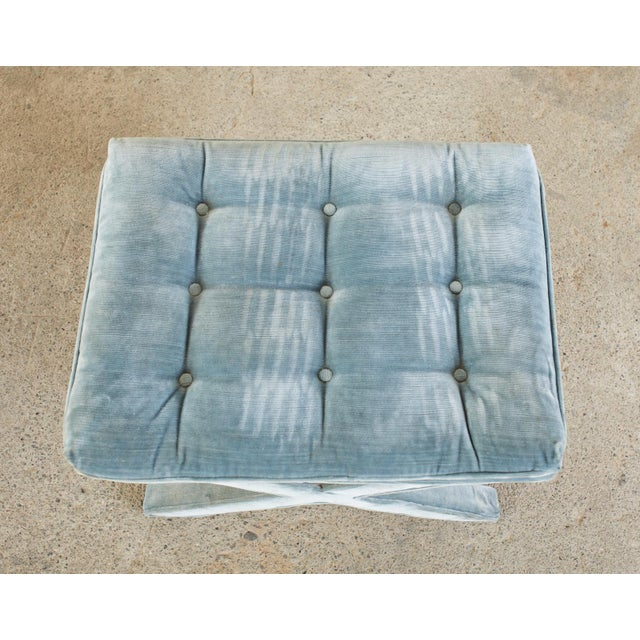 Pair of Billy Baldwin Style X Base Tufted Blue Velvet Benches For Sale In Sacramento - Image 6 of 13