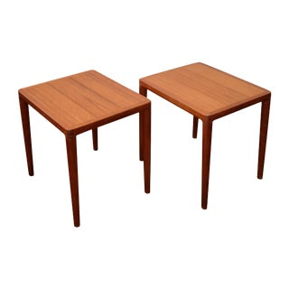 Pair of Teak Side Tables by h.w. Klein For Sale