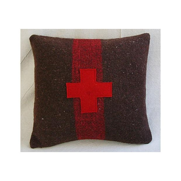 Swiss Appliqué Red Cross Wool Pillow - Image 7 of 7