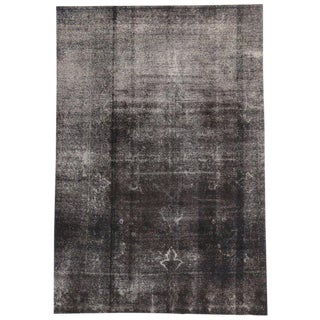 """20th Century Turkish Charcoal Overdyed Distressed Rug With Industrial Luxe Style - 8'4"""" X 12'3"""" For Sale"""