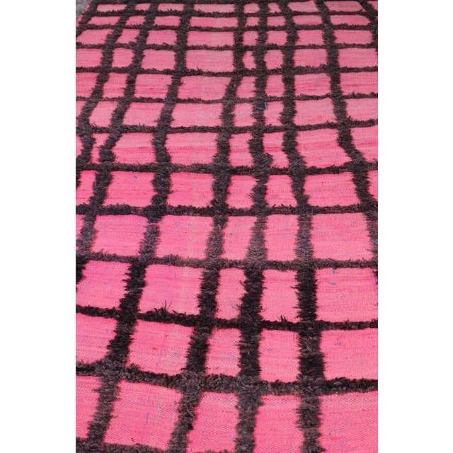 Hand Knotted Pink Geometric Moroccan Rug - 5' X 9' - Image 4 of 6