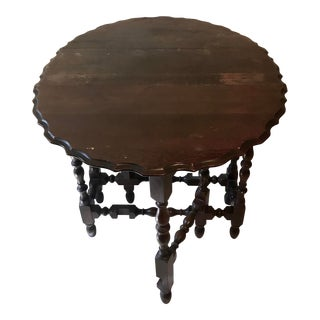 1910s American Classical Black Cherry Oak Drop Side Table