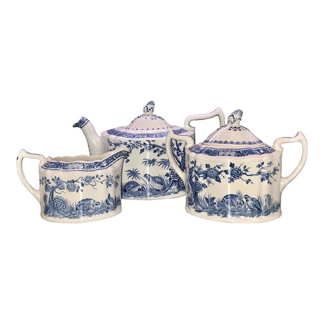 Blue and White Furnivals Quail 1913 Pottery Teapot, Creamer and Sugar Bowl Set For Sale