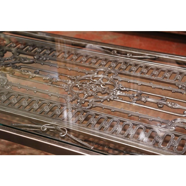Metal Iron Coffee Table Made With 19th Century French Gate Balcony With Glass Top For Sale - Image 7 of 13