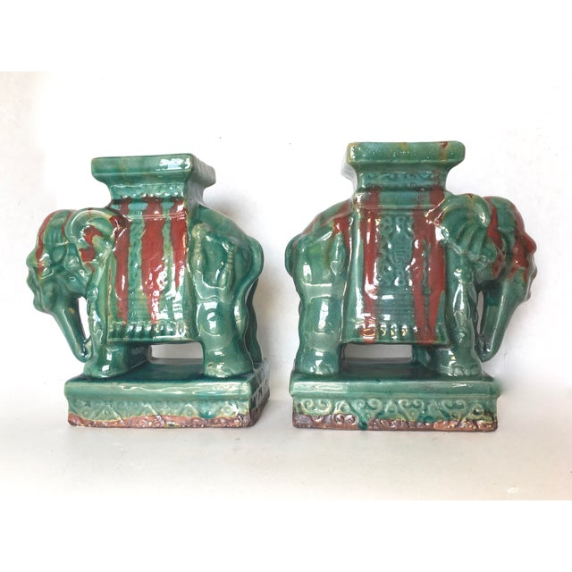 Drip Glaze Ceramic Elephant Statues - A Pair - Image 2 of 6