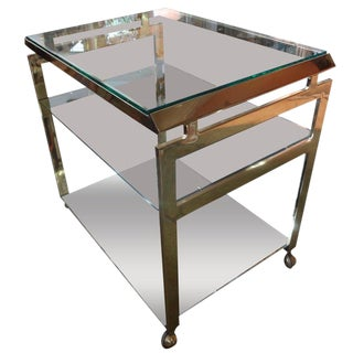 1970s Mid Century Modern Brass Bar Cart For Sale