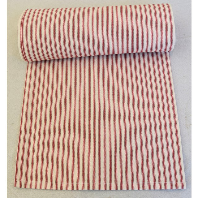 "Custom tailored 109""L table runner created from vintage/never used cotton fabric in a red and ivory striped ticking..."