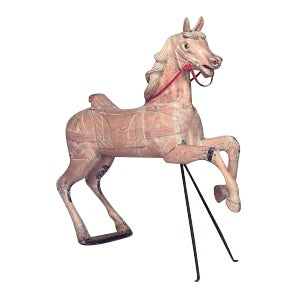 Carousel style (20th Cent) stripped pine large horse figure with front support