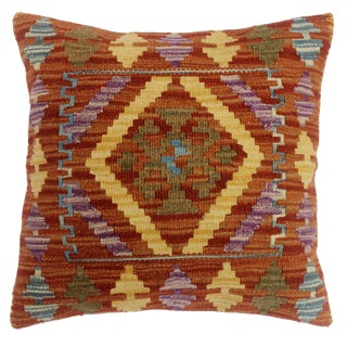 """Charolet Rust/Gold Hand-Woven Kilim Throw Pillow(18""""x18"""") For Sale"""