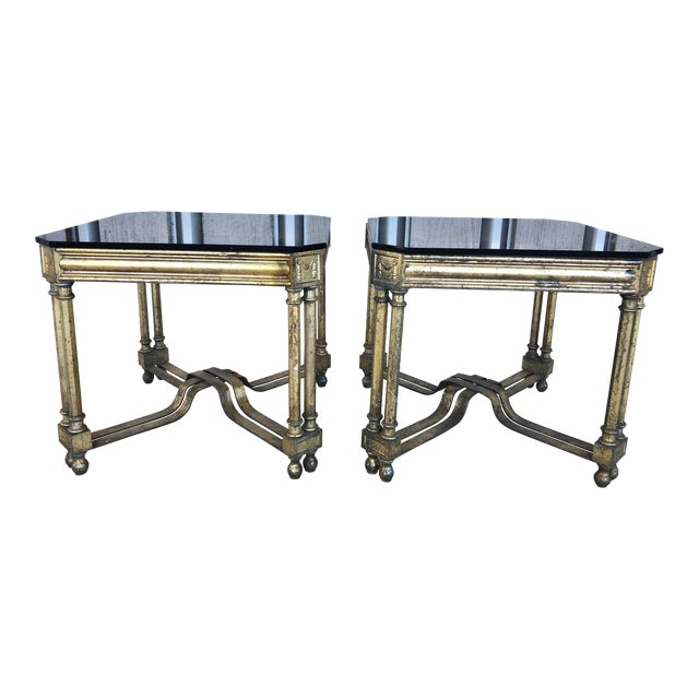 Midcentury French Silver Leaf Side Tables For Sale