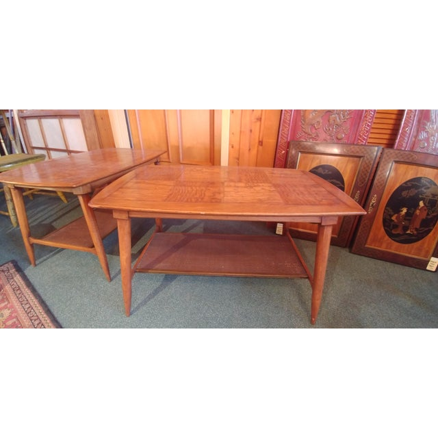 Mid century modern end table by Tomlinson from their Sophisticate line. Interesting patchwork / parquet top made with...