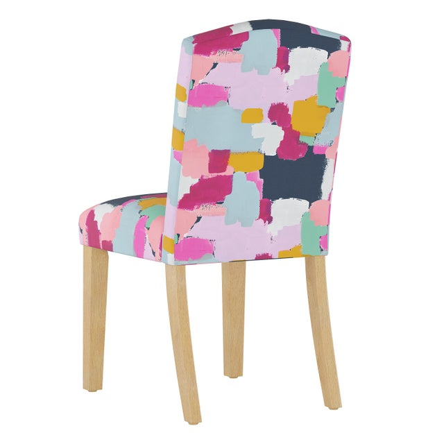 Contemporary Camel Back Dining Chair in Joyful Navy Oga For Sale - Image 3 of 7