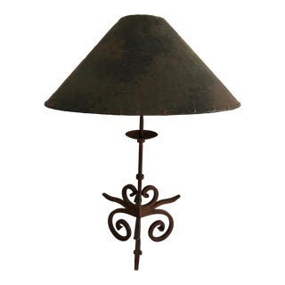 Hand-Crafted Wrought Iron Table Lamp With Punched Copper Shade For Sale