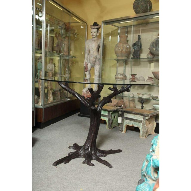 Contemporary Bronze Sculptural Tree-Trunk Dining Table Base From Thailand For Sale In New York - Image 6 of 10