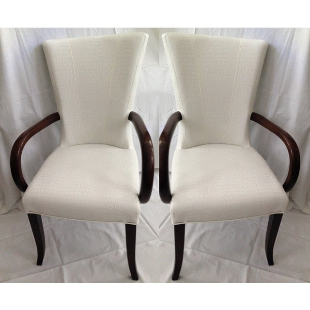 Faux Crocodile Leather Italian Accent Chairs - a Pair - Image 2 of 6