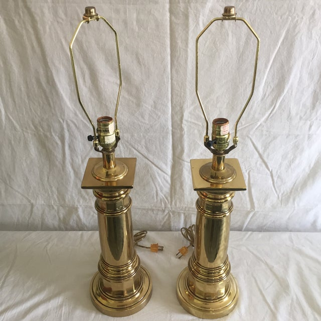 Ethan Allen Brass Column Table Lamps - A Pair - Image 4 of 8