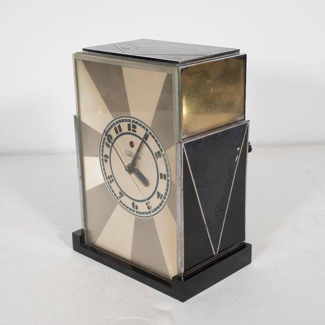 """This rare iteration of the iconic """"Modernique"""" was designed for the Warren Telechron Company by Paul Frankl, circa 1928...."""