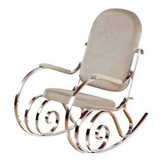 Maison Jansen Chrome Rocking Chair With New Velour Fabric, 1970s For Sale
