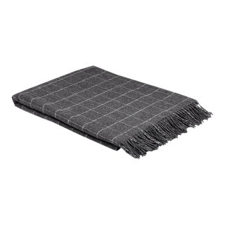 Contemporary Classic Graphite Wool Windowpane Throw