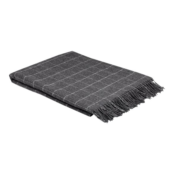 Contemporary Classic Graphite Wool Windowpane Throw For Sale