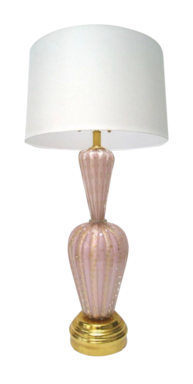 Fratelli Toso Vintage Pink Murano Glass Table Lamp For Sale