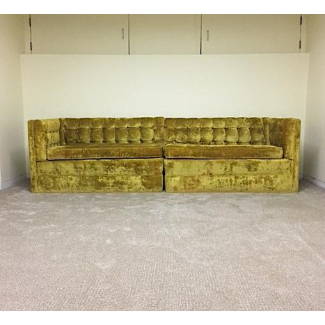fantastic mid century sectional in crushed gold velvet. Super fun and very comfortable. Upholstery is in excellent condition.